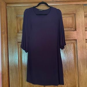 blue dress with puff sleeves